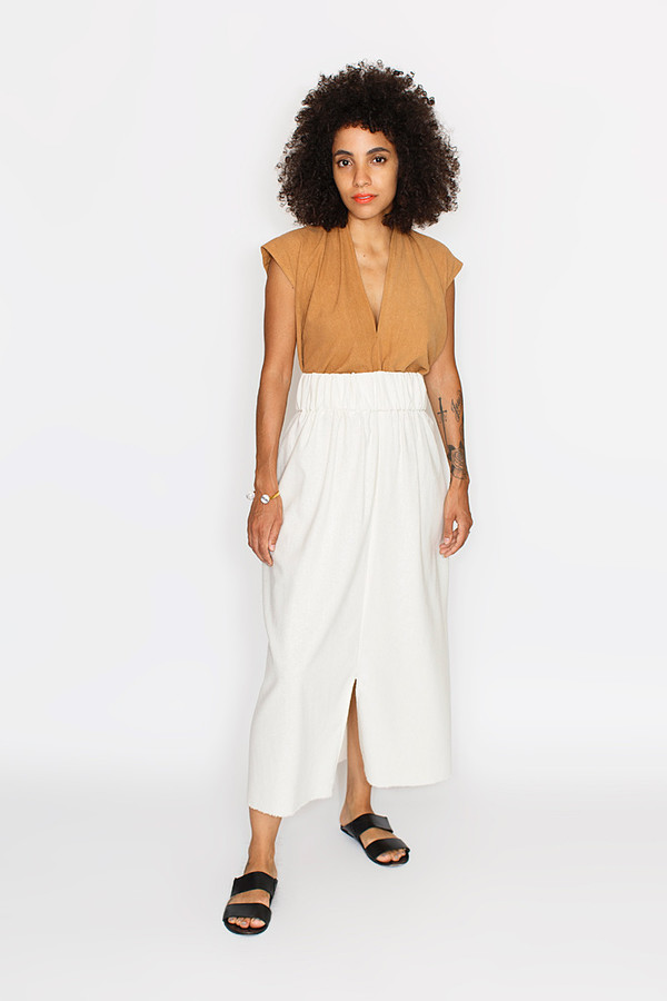 Miranda Bennett Paper Bag Skirt, Silk Noil in Natural