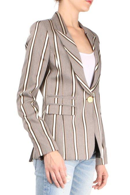 Smythe Peaked Label Blazer - Grey Ribbon Stripe