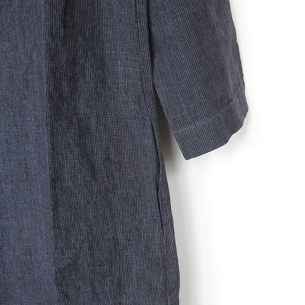 Nuthatch washed linen modern dress - charcoal stripe