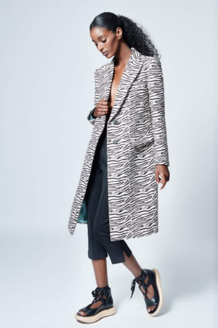 Smythe Peaked Lapel Overcoat - Zebra