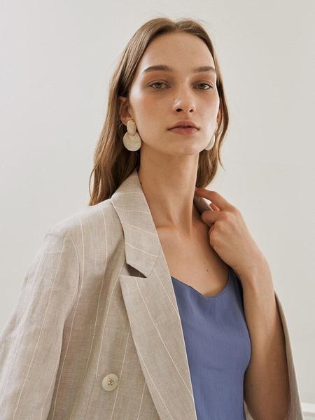 Kollab Toned Linen Set-Up Jacket - Beige