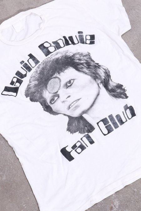 32ebd698d ... unisex Madeworn David Bowie Fan Club Glitter - Off White