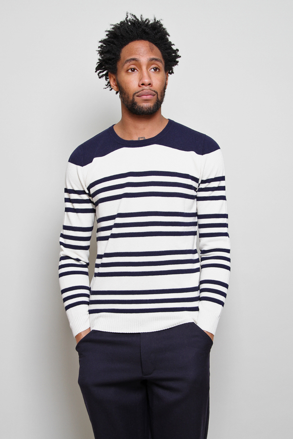 Chauncey Pique Nautical Crewneck Sweatshirt