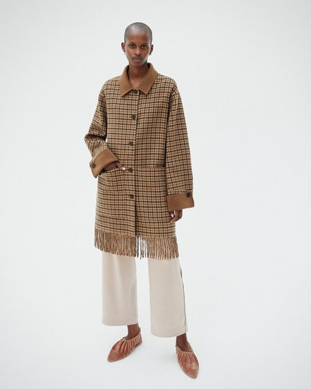 Nanushka MARZY Wool shirt coat with fringe - Brown check