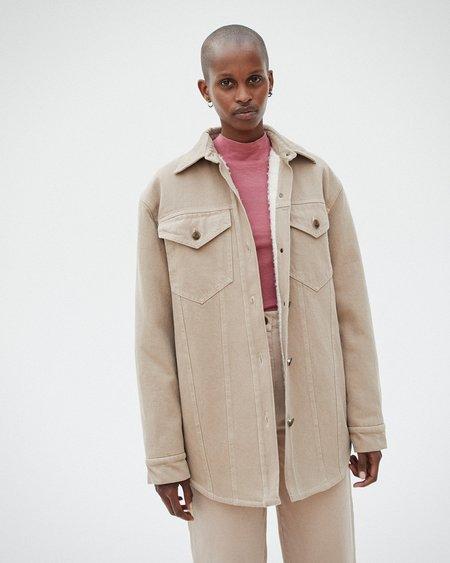 Nanushka NUSTA Denim jacket with faux shearling - Taupe