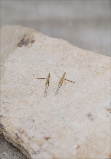 Kller Collection Petite Bionic Spike Studs - 10KT Gold/Sterling Silver