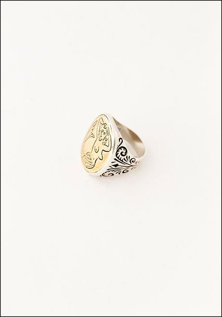 Unisex LHN Mermaid Signet Ring - Silver/Brass
