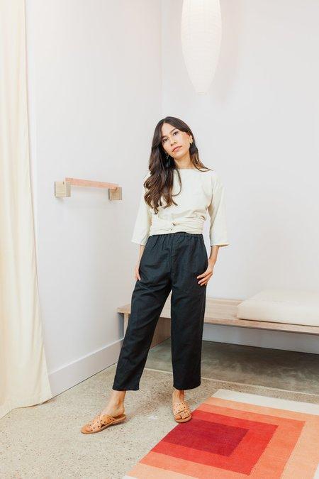 Miranda Bennett Linen Blend Hadid Pant (Petite) - BLACK