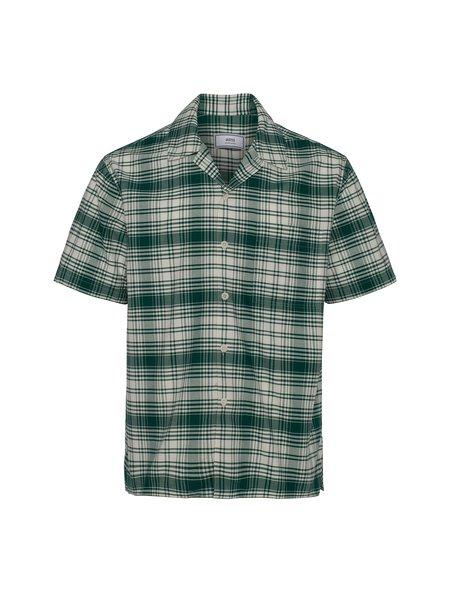 AMI Camp Collar Shirt - Green/Off White