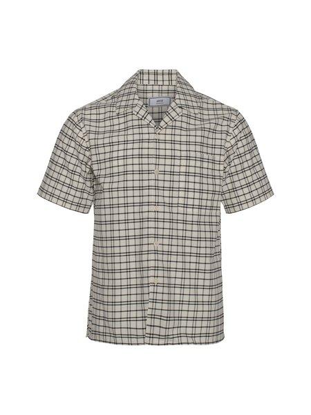 AMI Camp Collar Shirt - Black/Off White