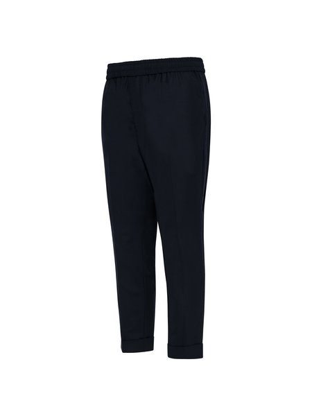 AMI Elasticized Waist Carrot Fit Trousers - Navy