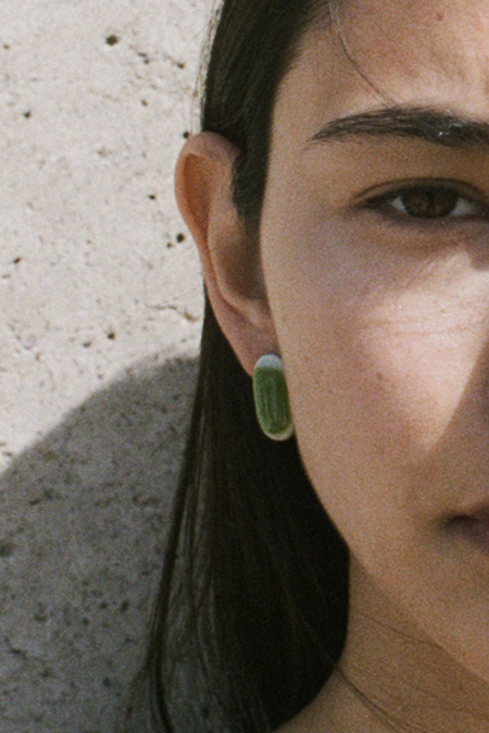 Forme & Sens Glass Pebble Earrings - Marbled