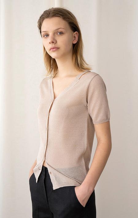 AMONG SEOUL Slit Knit Cardigan - Beige