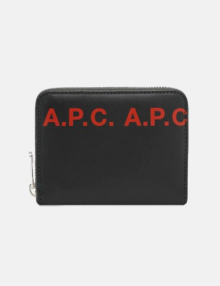 A.P.C. Zip Logo Wallet - Black/Red