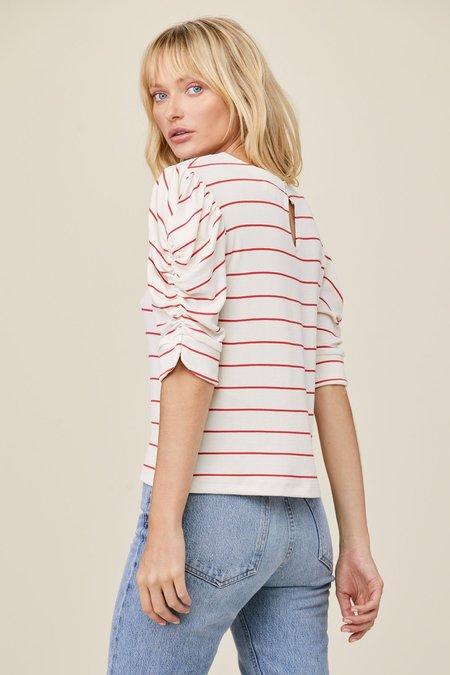 LnA Danny Rib Top - White/Red Stripe