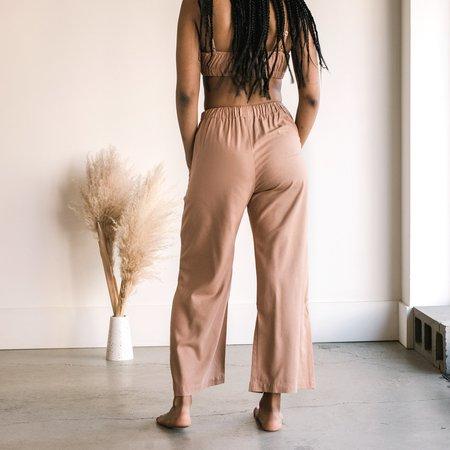 Ozma Crop Silk Noil Wide Leg Pant - Sand