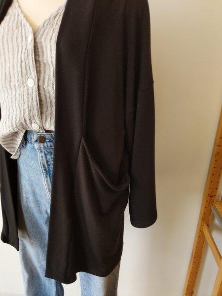 Corinne Long Pocket Cardigan - Black