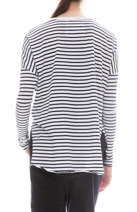 FRANK & EILEEN TEE LAB Jersey Long Sleeve T-Shirt - WHITE/BRITISH ROYAL NAVY STRIPE