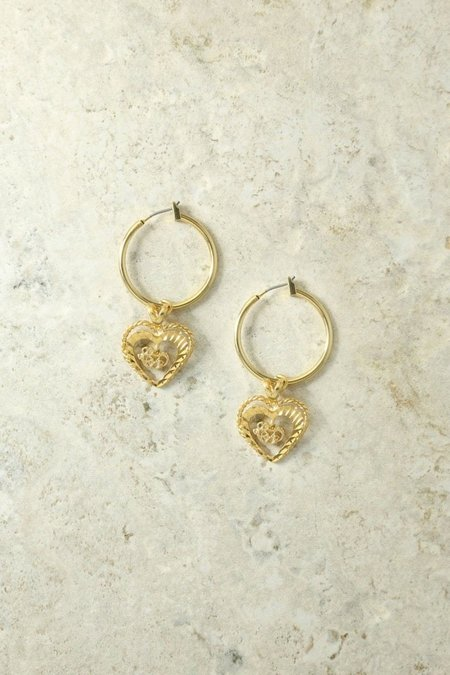 3cce09475 ... Vanessa Mooney Adorar Heart Earrings - Gold
