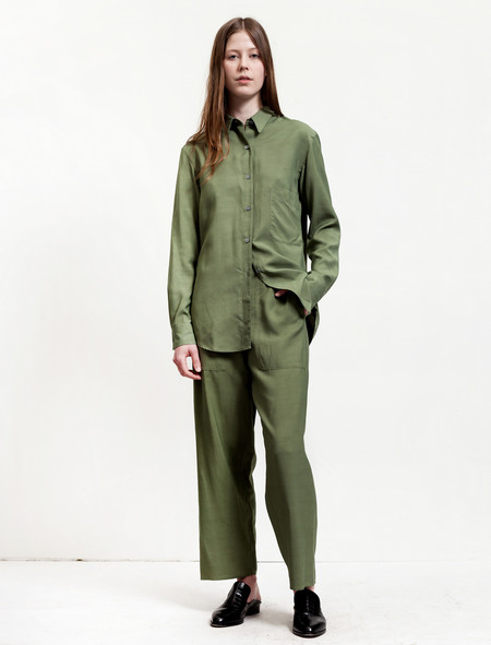 Lemaire Elasticated Pants Cropped Olive