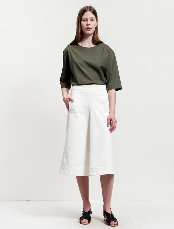 Lemaire Flared Denim Skirt Off White