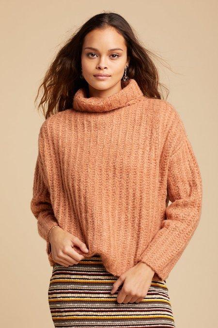 Free People Fluffy Fox Sweater - Papaya
