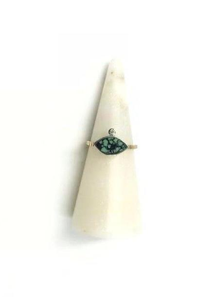 Young In The Mountains Peacock Turquoise Geo Marquise Ring