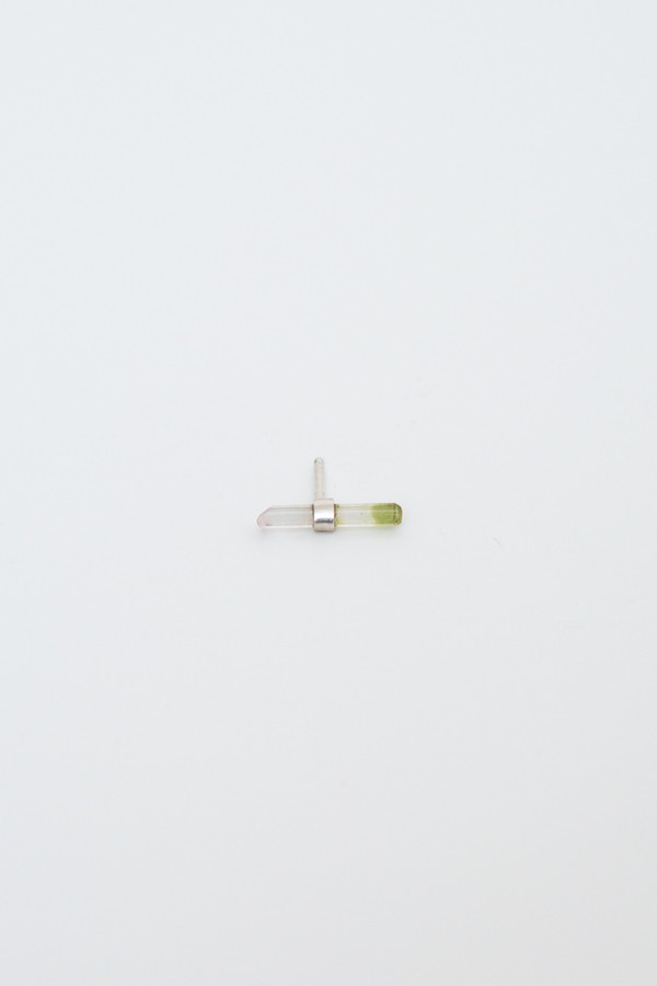 better late than never bi-color watermelon tourmaline bar stud singles (sterling silver)