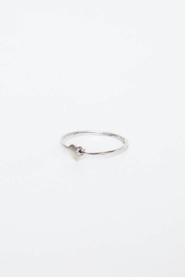 fiat lux sterling silver heart ring with blue sapphire
