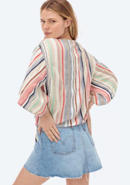 Love Stitch Sophia Tie Front Top - Multi-Color Striped