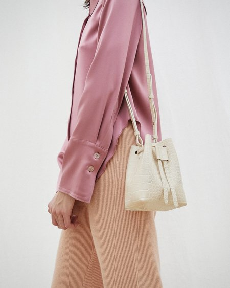 Nanushka Minee Mini Bucket Bag - Creme