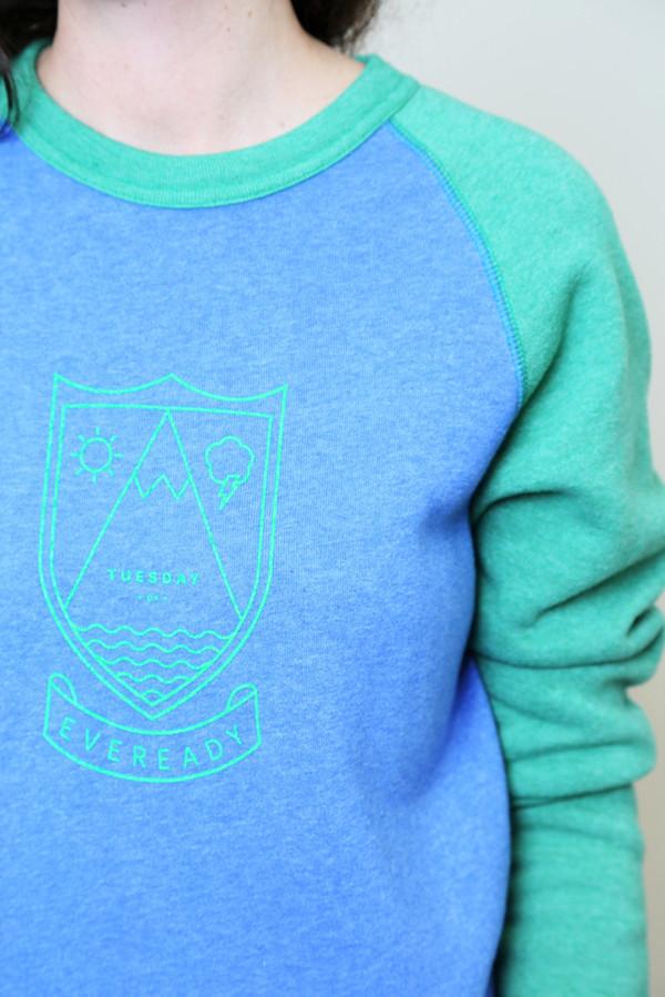 rachel antonoff crest 2-tone sweatshirt