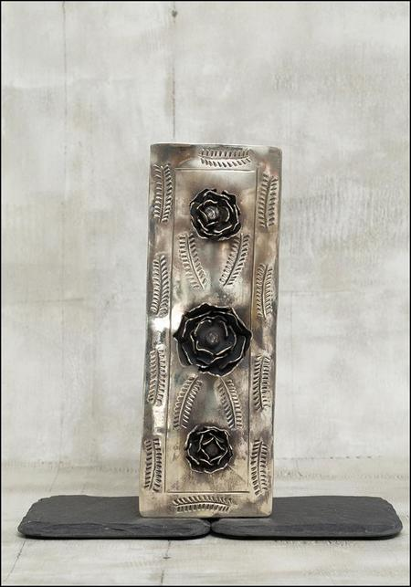 J Alexander Rose Stamped Narrow Metal Box - Silver