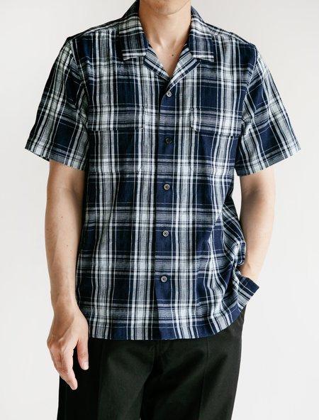 Niuhans Indigo Dobby Check Open Collar S/S Shirt - Dark Indigo