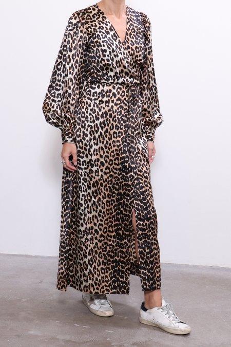 Ganni Silk Stretch Wrap Dress - Leopard