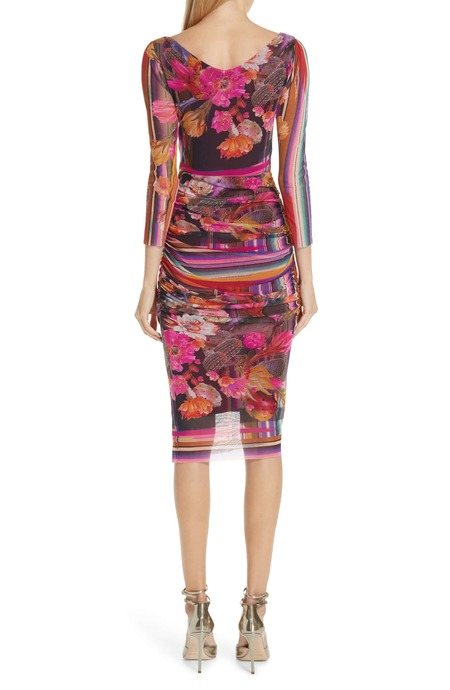 Fuzzi fitted ruched dress - cactus print