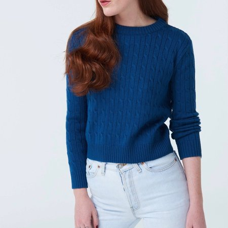 McIntyre Maria Cropped Cable Knit Sweater - Cobalt Blue