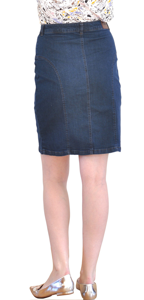 "Courtshop ""Vicki"" Denim Pencil Skirt in Dark Denim"
