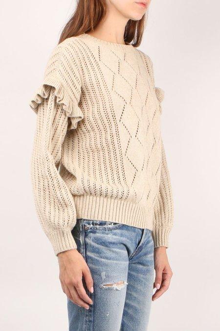 Apiece Apart Valdez Crochet Ruffle Crew - Sand