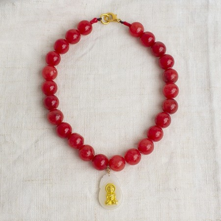 Love in Bombay collection Buddha Necklace - red