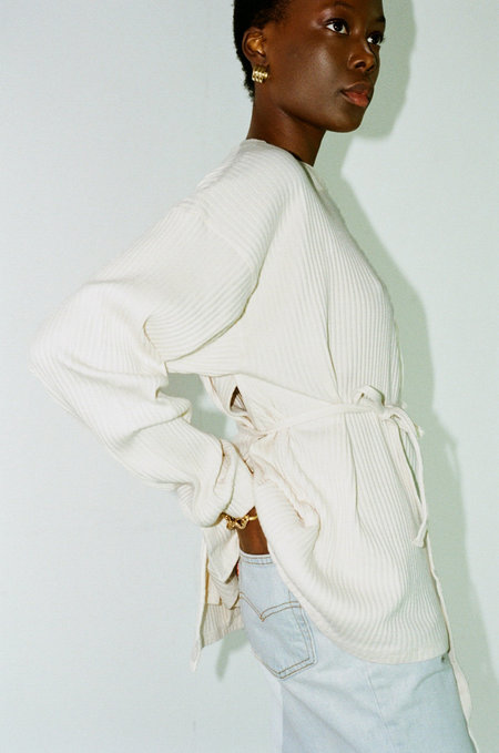 BASERANGE Shaw Long Sleeve Rib Top - Off white
