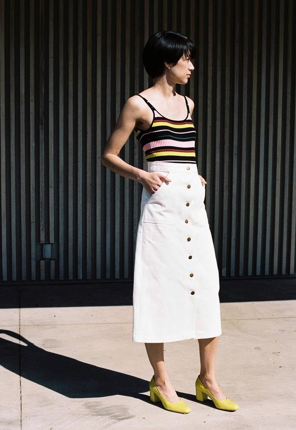 Apiece Apart Correa A-Line Tea Length Skirt - white