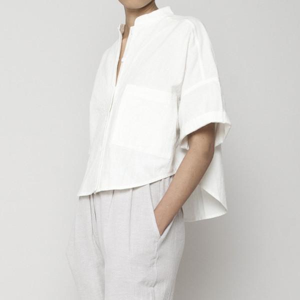 7115 by Szeki Pocket Cropped Shirt- White SS16