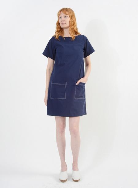 Meg Stitched Shift Dress - Navy