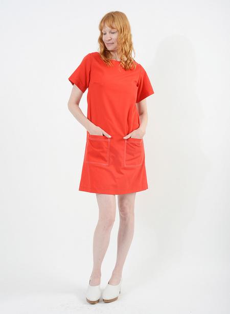 Meg Stitched Shift Dress - Red