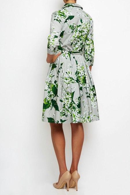 Samantha Sung lily print shirtwaist cotton dress - light gray