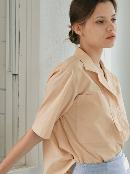 Facade Pattern Rustling Cotton Shirt - Butter Cream