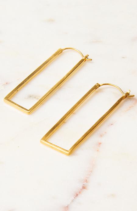 Jane Diaz NY Long Rectangle Hoop - 10k Gold