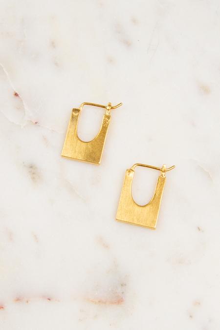 Jane Diaz NY Small Chunky Rectangular Hoops - 10k Gold