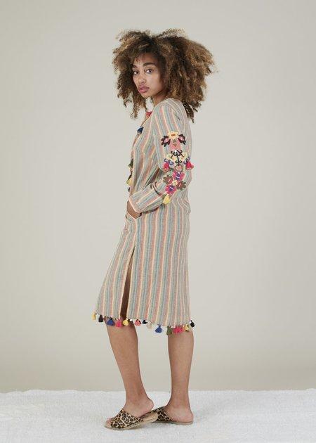 Rose and Rose Ravello Tassel Dress - earth stripe/multi